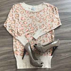 🐆 cute pink and tan leopard print Vanity sweater